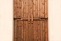 Wooden door latch stock image