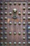 Wooden door of the Lima cathedral Stock Image