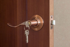 Wooden door with lock Royalty Free Stock Image