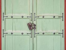 Wooden door with Lock Vintage style Gate Architecture details. Asian Korean culture Royalty Free Stock Image
