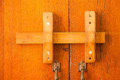Wooden door locks Royalty Free Stock Photography