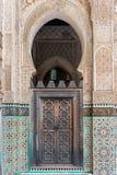 Wooden door in a Madrassa, Fez, Morocco Royalty Free Stock Photos
