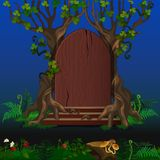 Wooden door in magic forest. Cartoon landscape Vector Illustration