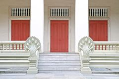 Wooden door with Marble Step Stock Photos