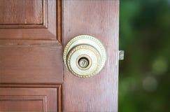 Wooden door with metal handle on green background. Wooden door with metal handle on a green background Stock Photos