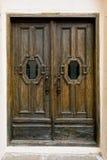 Wooden Door with metal handle Stock Photography