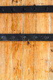 Wooden door and Metal Hinge Royalty Free Stock Photos