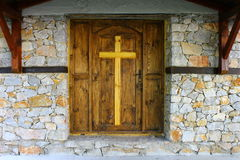 Wooden door of the monastery Royalty Free Stock Photography