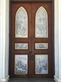 Wooden door of  Nativity of Our Lady Cathedral church Stock Images
