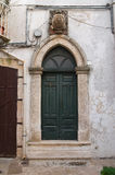 Wooden door. Noci. Puglia. Italy. Stock Photos