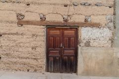 Wooden Door Of An Old House In Leimebamba, Pe Royalty Free Stock Photos