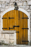 Wooden door in the old house Stock Photo
