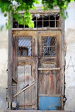 Wooden Door. Of an old house in Ayvalik Turkey Stock Photo