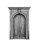 Wooden door in an old Italian house, isolated on white background, clipping path. Stock Photos