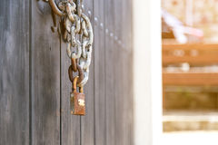 Wooden door padlock Stock Photography