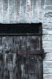 Door made of wood panels in a rural house, Italy stock photos
