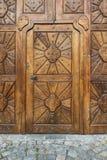 Wooden door. Part of wooden door historic building in Prague Stock Photography
