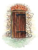 Hand drawn illustration of antique wooden door in pencil colored style royalty free illustration