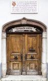 Wooden Door of Pharmacy Shop Stock Photo