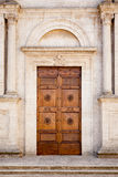 Wooden Door in Pienza Italy Royalty Free Stock Photos