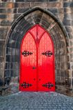 Wooden door in red Royalty Free Stock Image