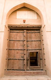 Wooden door of Rustaq fort Royalty Free Stock Images