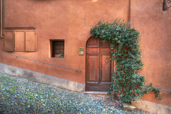 Wooden door on the rusty colored wall. Stock Photography