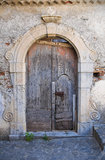 Wooden door. Scalea. Calabria. Italy. Stock Photos