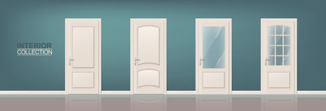 Wooden Door Set. Photorealistic Doors for Web, Print, Interiors Design Stock Photo