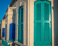 Wooden door shutters street Stock Image