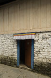 A wooden door. Slightly open Stock Photos