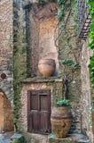 Wooden door still life, Peratallada, Spain Stock Image