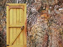 Wooden door in stone castle wall. Natural background, retro object stock photography
