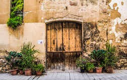 Wooden door with stone wall and green bushes. Wooden door with stone wall and green plants in pots and flowerpots in an old Spanish village in summertime Royalty Free Stock Image
