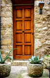 Wooden door  in stone wall Royalty Free Stock Image