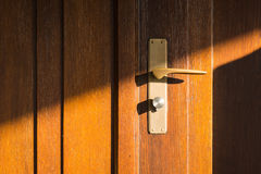 Wooden Door Sun Rays Modern Lock Handle Panel Warm Outdoors Entr Stock Photos