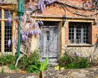 Wooden Door to an English Village Cottage Stock Photography