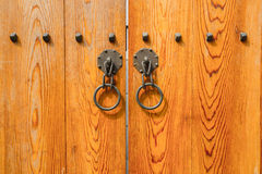 Wooden door, traditional korean style. Royalty Free Stock Image