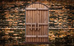 Wooden door on vintage brick wall Stock Image