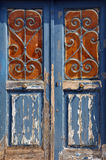 Wooden door vintage metal frame Royalty Free Stock Image