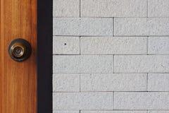 Wooden door on wall. A Wooden door on wall Stock Images