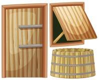 Wooden door and window. Illustration stock illustration