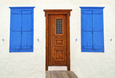 Wooden door and windows at Hydra island Greece Stock Image