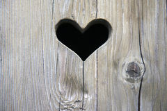 Wooden Door With Heart Stock Photos