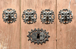 Free Wooden Door With Iron Lock In Caceres, Spain Stock Images - 65783994