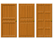 Wooden doors. 3 different styles of wooden doors Stock Images