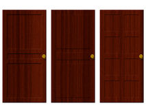 Wooden doors. 3 different styles of wooden doors Royalty Free Stock Images