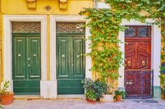The wooden doors, Birgu, Malta. The scenic wooden doors of old living houses, decorated with plants, twisted on the wall and flowers in pots, Birgu, Malta stock photo