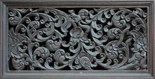 Wooden Doors Carved Into Lotus, Thailand Stock Photos