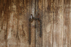 Wooden doors and chain, texture Stock Image